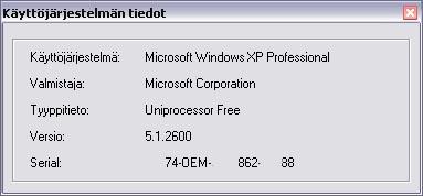 Visual Basic käyttöjärjestelmän tietoja